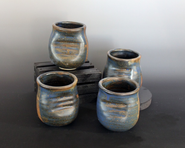 Benjamin Krikava, Blue cups, 2013, reduction fired stoneware