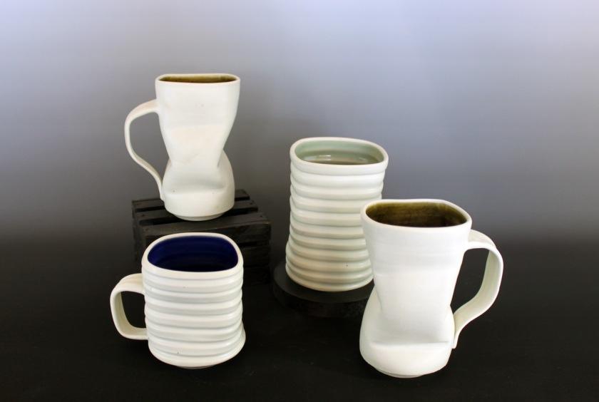 Brynne Macosko Paguyo, White porcelain mugs, 2013