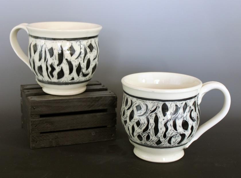 Sheryl Grassie, sgraffito coffee cups, 2013, mid-range stoneware
