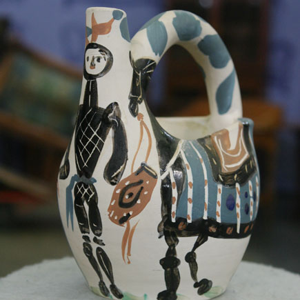 Madoura, Picasso ceramic jug, red earthenware clay with slip decoration