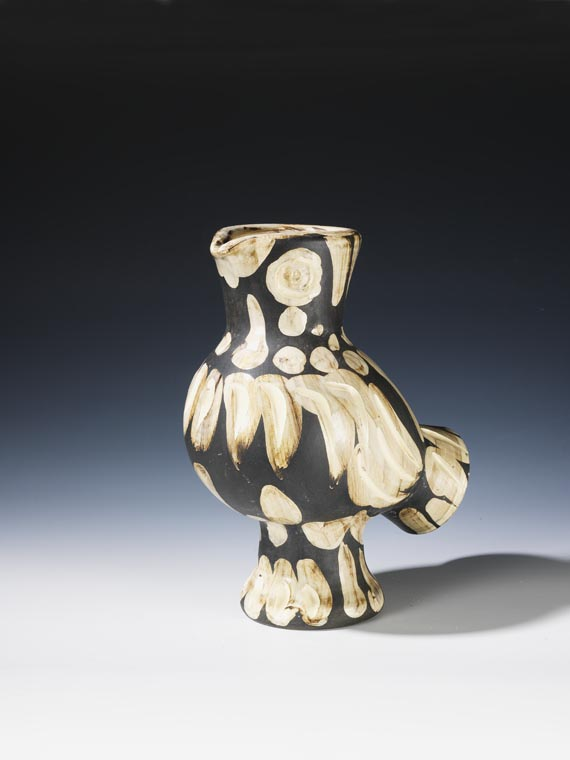 Picasso and his wife adopted a baby owl and the ow; theme is seen here. Owl vase, Picasso Madura pottery,