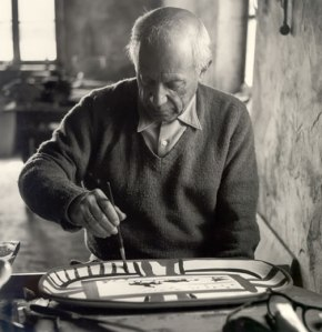 Picasso working on a platter abt 1953