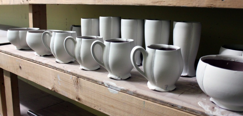 Greenware by Dane Hodges, qwaiting to be biscuit fired